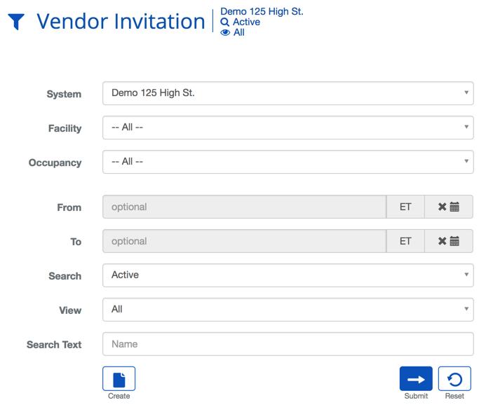 Vendor Invitation Search Criteria